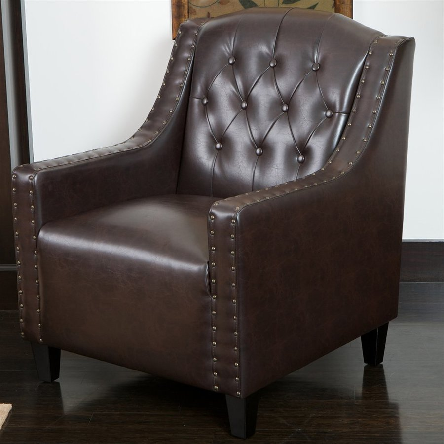 Best Selling Home Decor Gabriel Casual Brown Faux Leather Club Chair