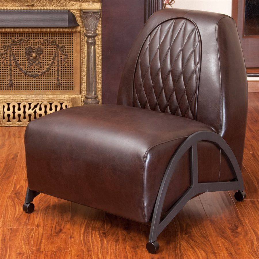 Best Selling Home Decor Odessa Modern Brown Faux Leather Slipper Chair