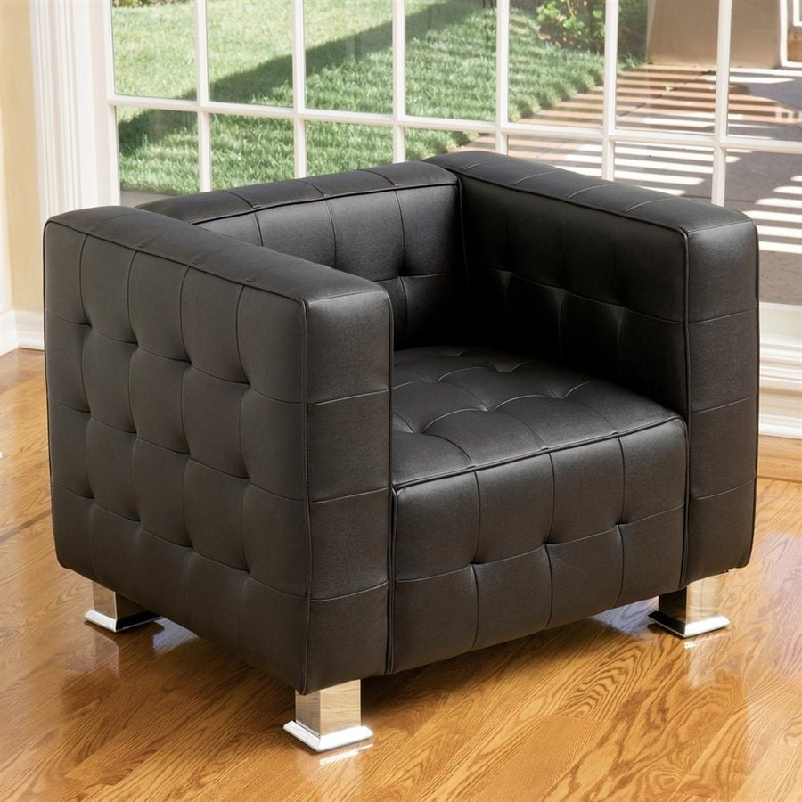 Best Selling Home Decor Mcqueen Modern Black Faux Leather Club Chair