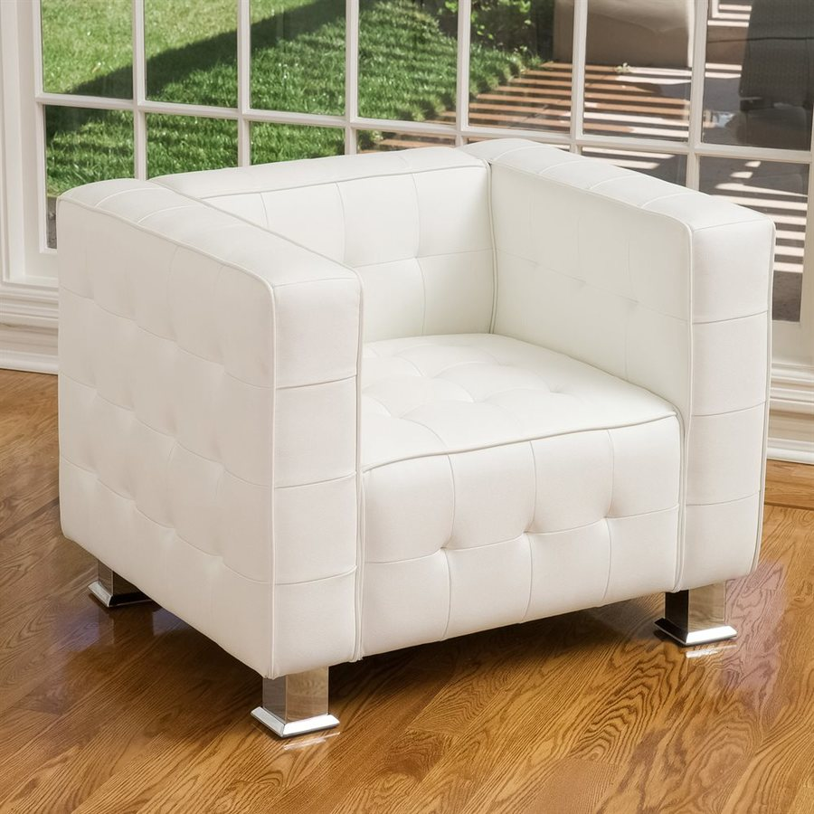 Best Selling Home Decor Mcqueen Modern White Faux Leather Club Chair