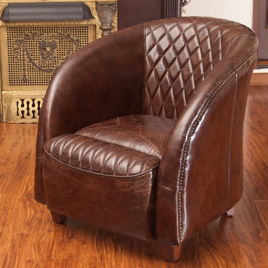 Best Selling Home Decor Rahim Modern Brown Genuine Leather Club Chair