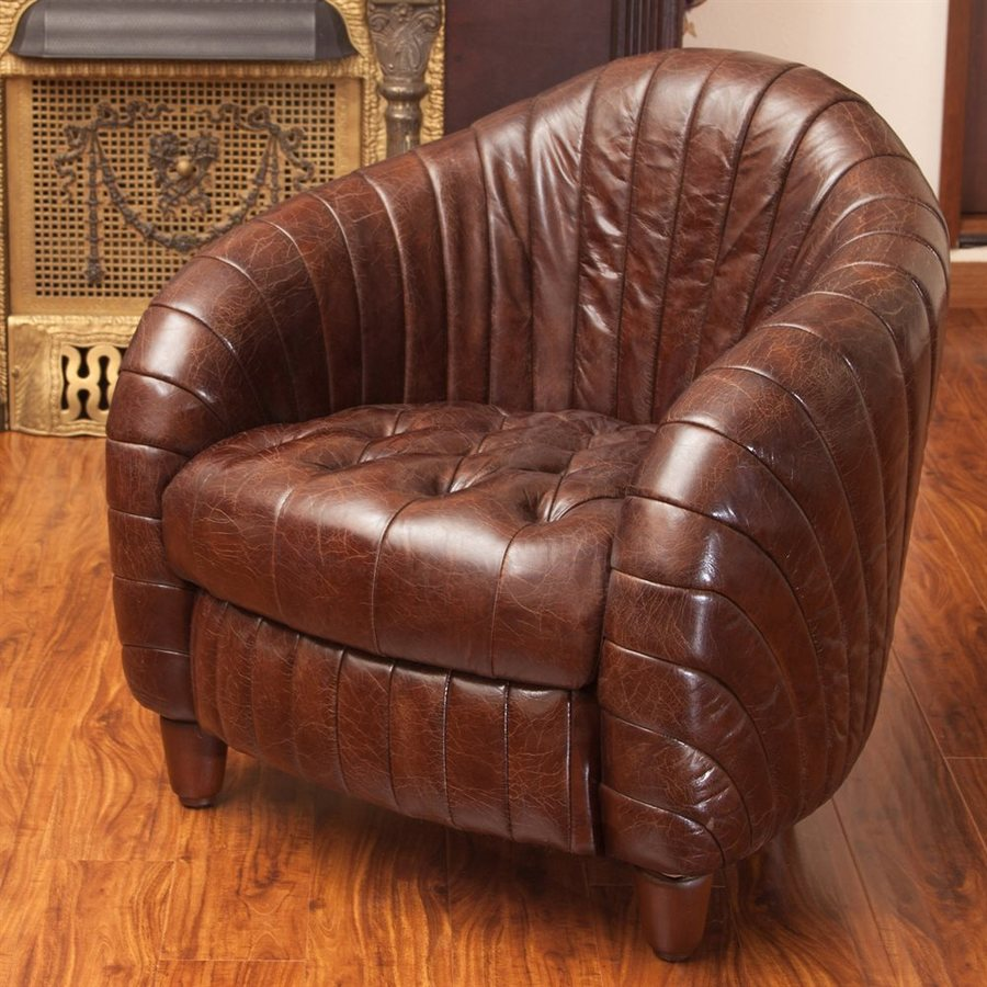 Best Selling Home Decor Gaston Modern Brown Leather Club Chair