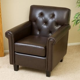 Best Selling Home Decor Veronica Casual Brown Faux Leather Club Chair & Shop Chairs at Lowes.com