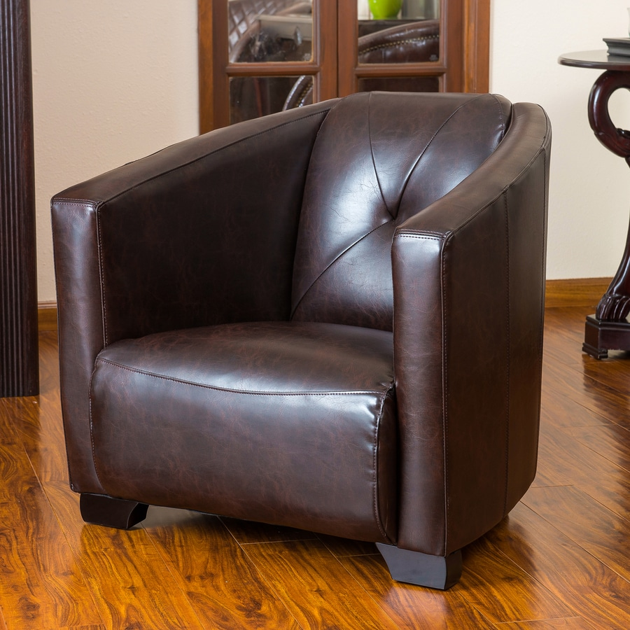 Nice Best Selling Home Decor Dale Modern Brown Faux Leather Club Chair