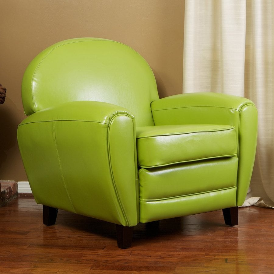 Best Selling Home Decor David Modern Green Faux Leather Club Chair