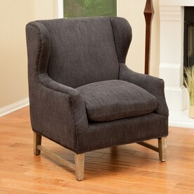 Best Selling Home Decor Buchanon Casual Gray Polyester Blend Wingback Chair