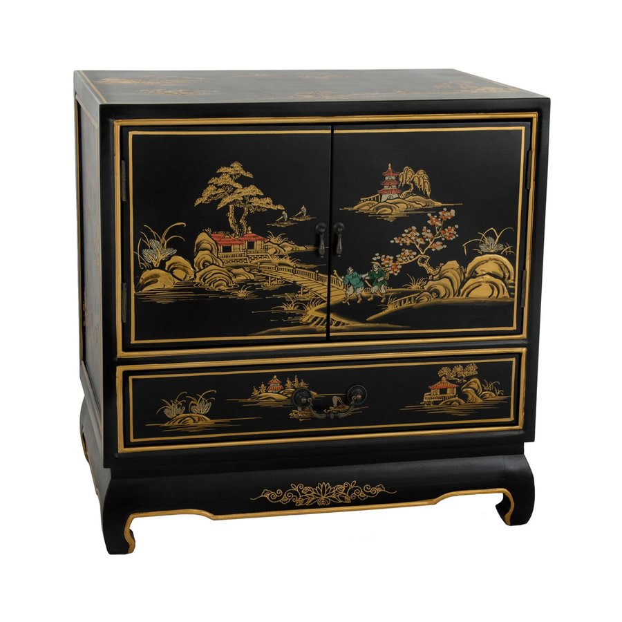 Oriental Furniture Gloss Black Nightstand