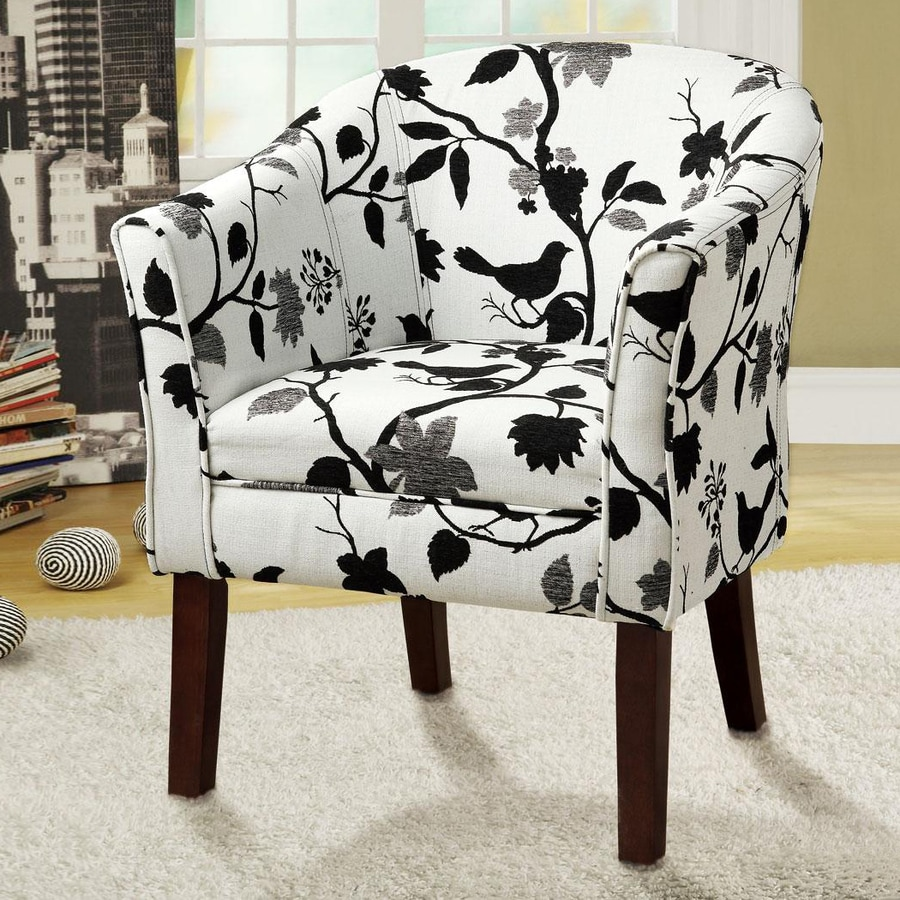 Coaster Fine Furniture Casual White with bird pattern Accent Chair