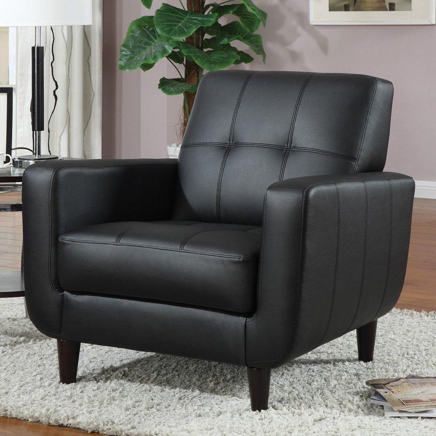 Coaster Fine Furniture Midcentury Black Vinyl Club Chair