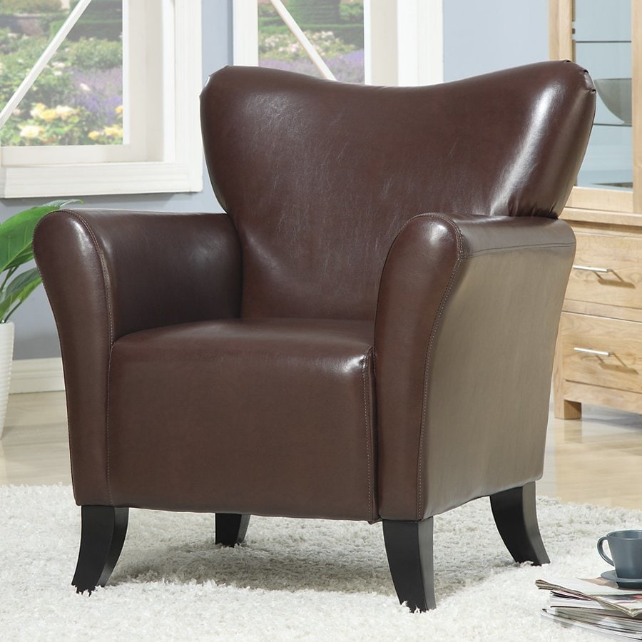 Coaster Fine Furniture Casual Brown Faux Leather Wingback Chair