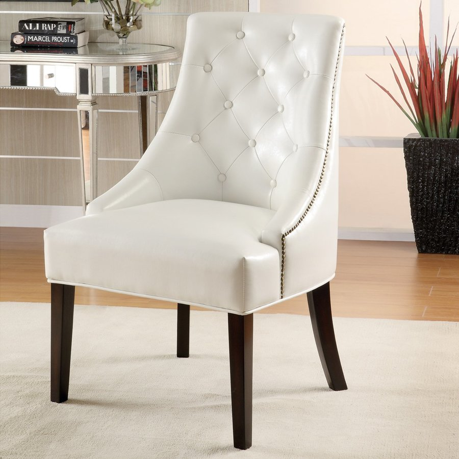 Coaster Fine Furniture Casual White Faux Leather Accent Chair
