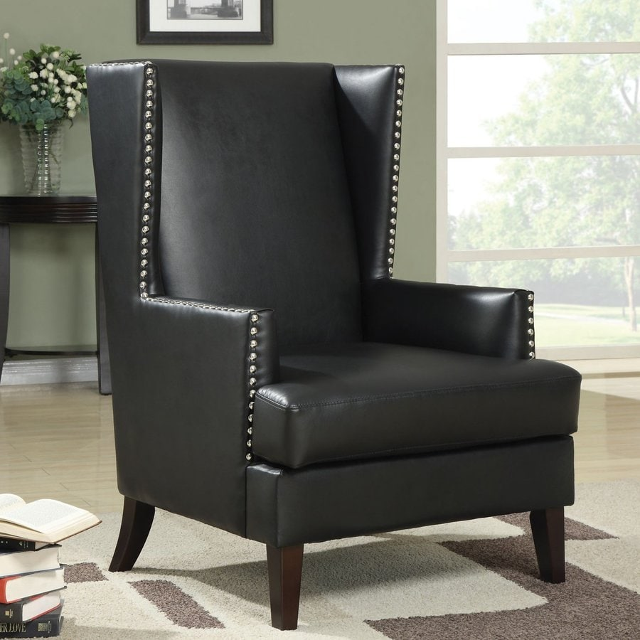Coaster Fine Furniture Casual Black Faux Leather Wingback Chair