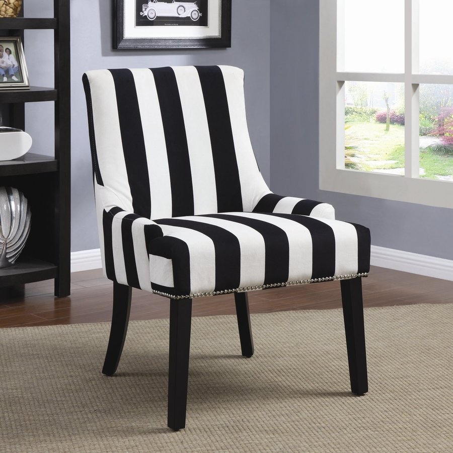 Coaster Fine Furniture Casual Black and White Velvet Accent Chair