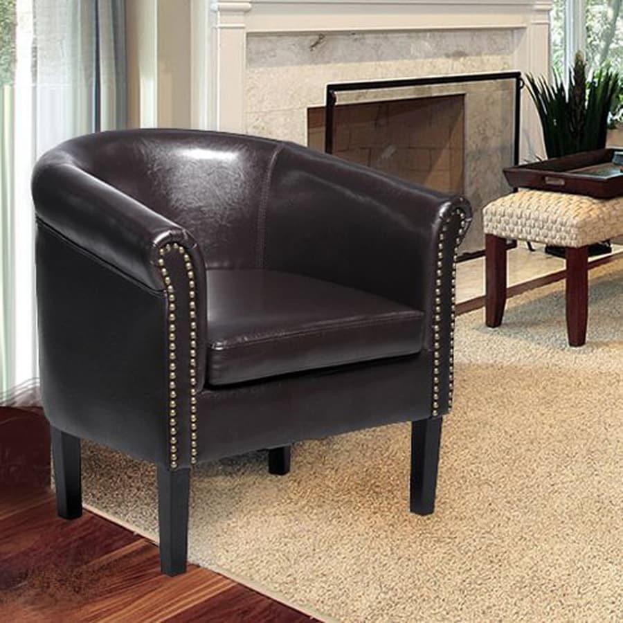 HomCom Casual Dark Brown Faux Leather Club Chair