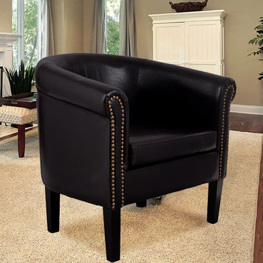 HomCom Casual Black Faux Leather Club Chair : black leather club chairs - Cheerinfomania.Com