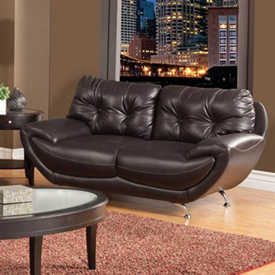 Furniture of America Volos Midcentury Chocolate Faux Leather Loveseat