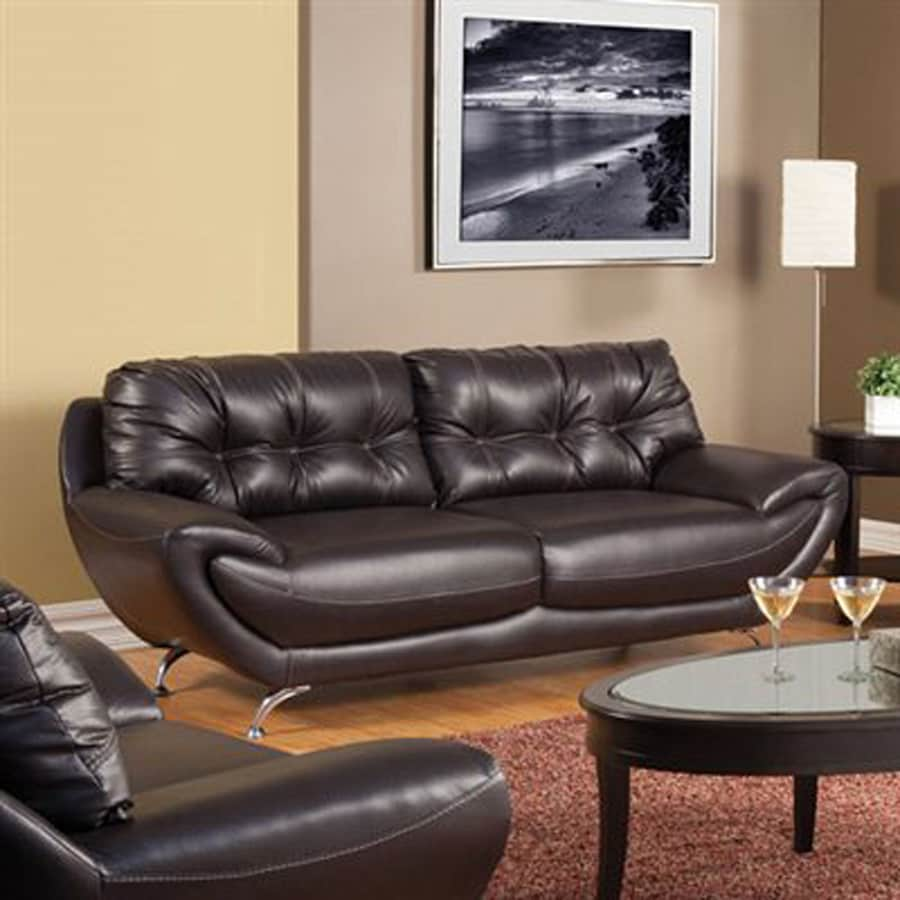 Furniture of America Volos Midcentury Chocolate Faux Leather Sofa