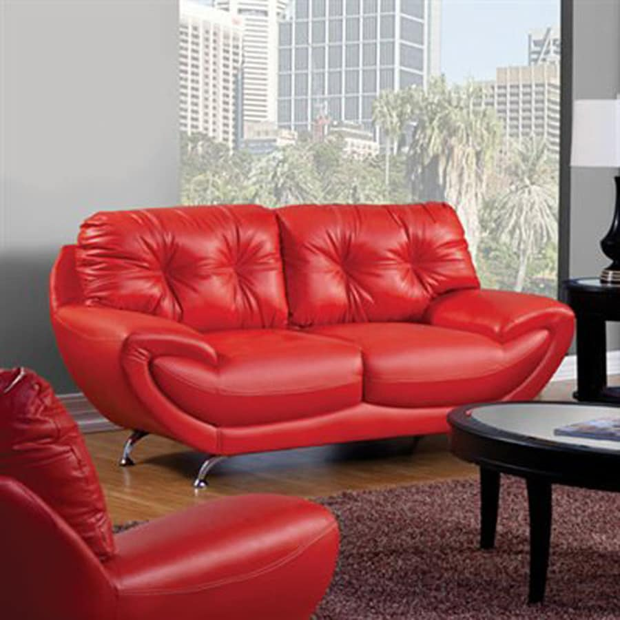 Furniture of America Volos Midcentury Red Faux Leather Loveseat