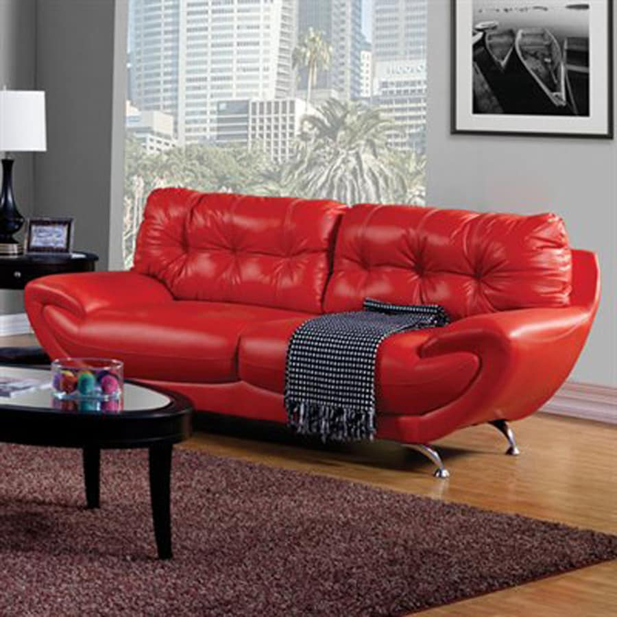 Furniture of America Volos Midcentury Red Faux Leather Sofa at Lowes.com