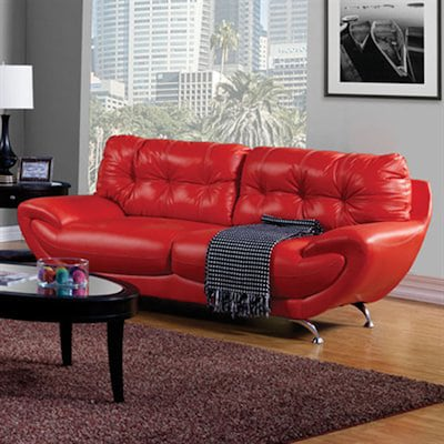 Superb Furniture Of America Volos Midcentury Red Faux Leather Sofa Gamerscity Chair Design For Home Gamerscityorg