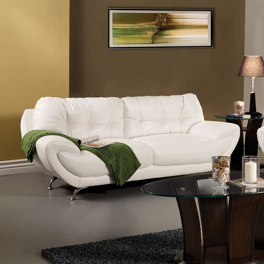 Shop Furniture Of America Volos Midcentury White Faux Leather Sofa