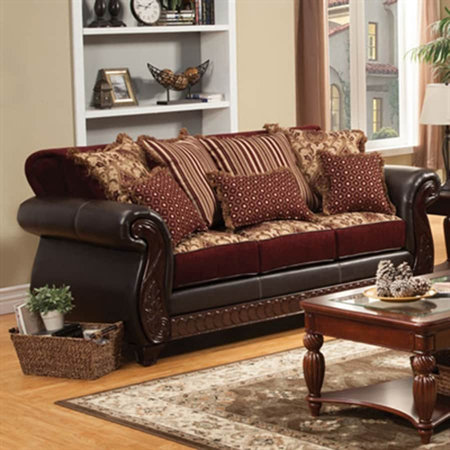 Furniture Of America Franklin Vintage Burgundy Faux Leather Sofa