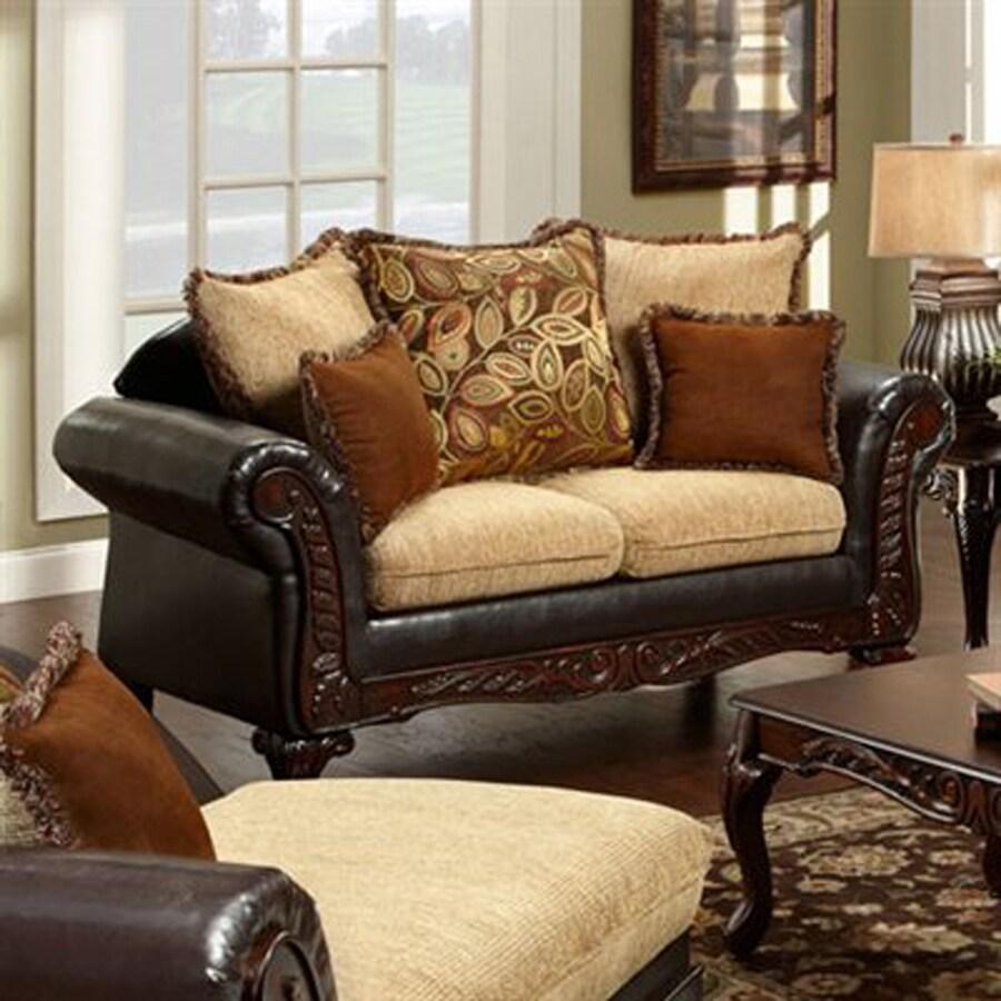 Furniture of America Doncaster Vintage Light Brown/Espresso Faux Leather Loveseat