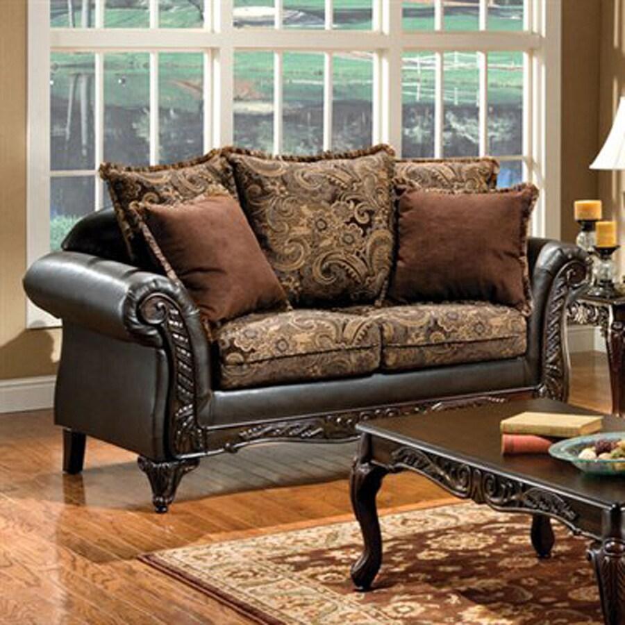Furniture of America Rotherham Vintage Brown/Dark Brown Faux Leather Loveseat
