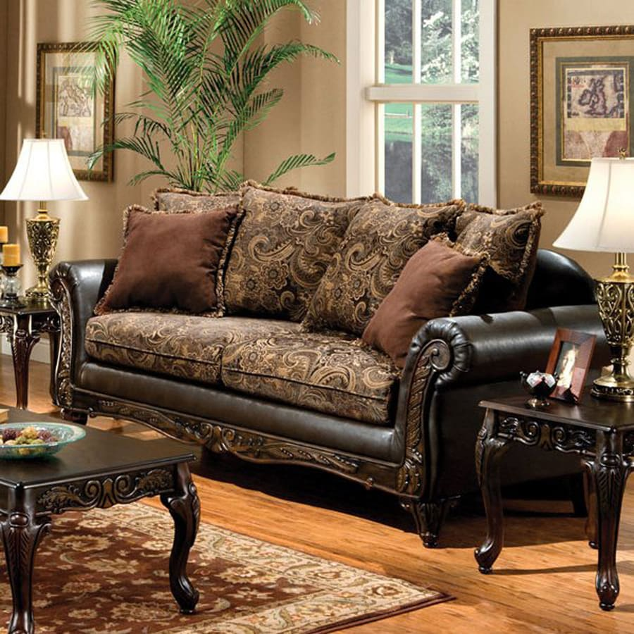 Furniture of America Rotherham Vintage Brown/Dark Brown Faux Leather ...