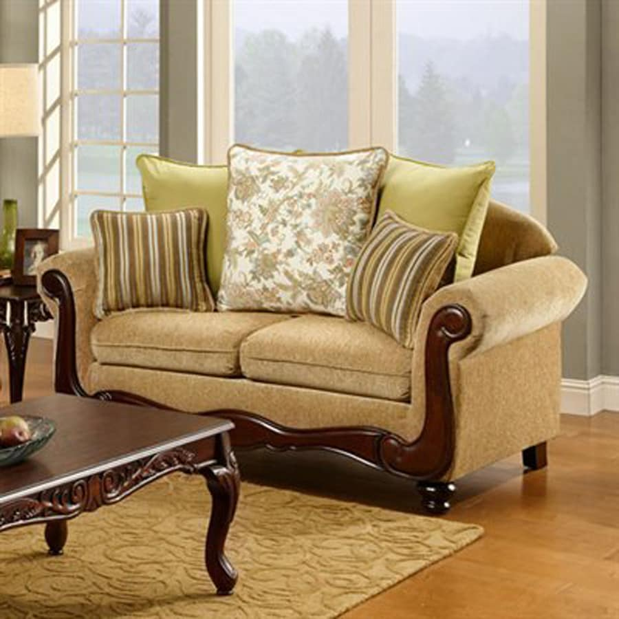 Furniture of America Banstead Vintage Tan Faux Leather Loveseat