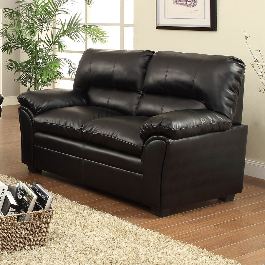 Homelegance Talon Casual Black Faux Leather Loveseat