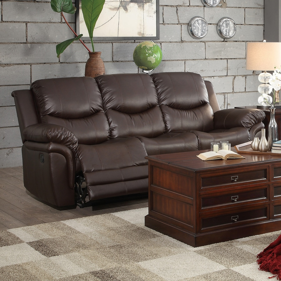 Homelegance St Louis Park Casual Brown Faux Leather Reclining Sofa