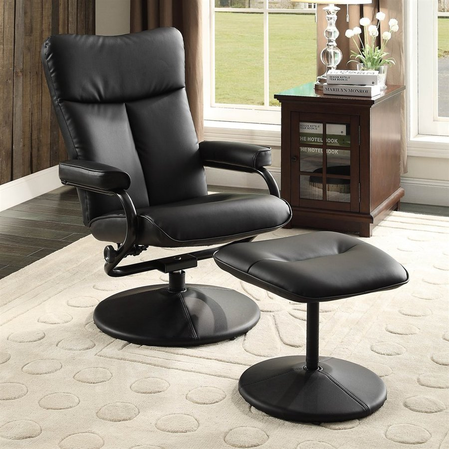 Homelegance Alida Black Faux Leather Swiveling Recliner