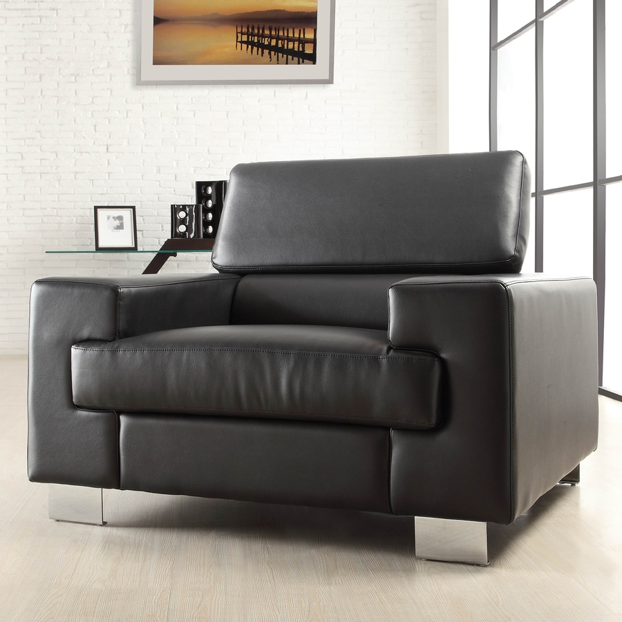 Homelegance Vernon Modern Black Faux Leather Club Chair