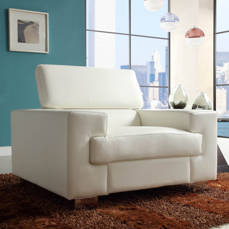 Homelegance Vernon Modern White Faux Leather Club Chair