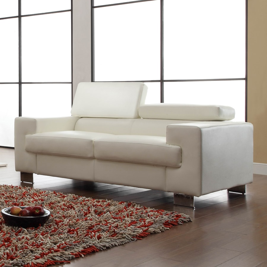 Shop Homelegance Vernon Modern White Faux Leather Loveseat At