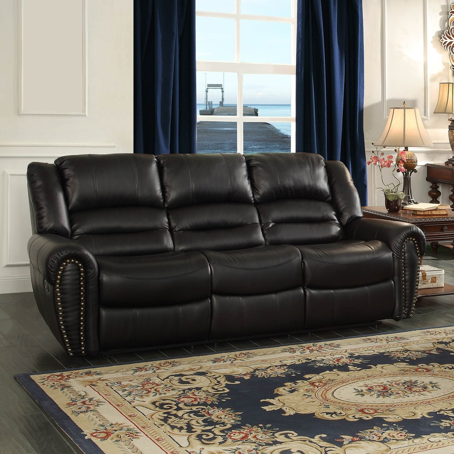 Homelegance Center Hill Casual Black Faux Leather Reclining Sofa