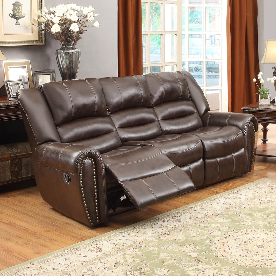 Homelegance Center Hill Casual Brown Faux Leather Reclining Sofa