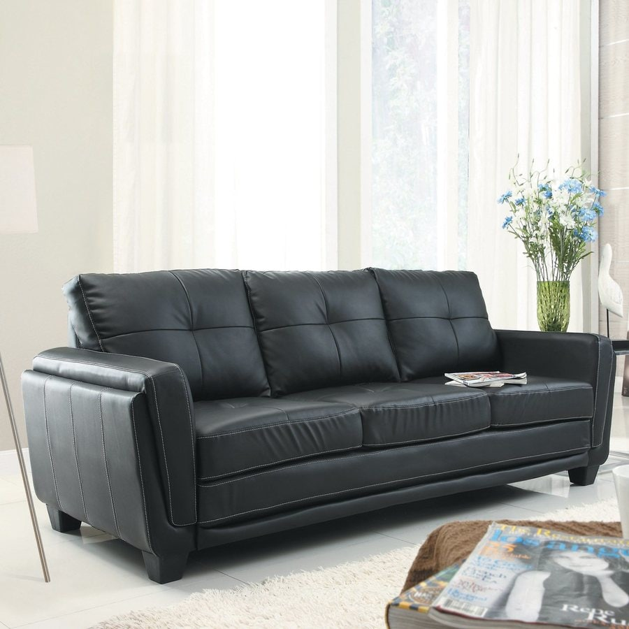 Homelegance Dwyer Modern Black Vinyl Sofa