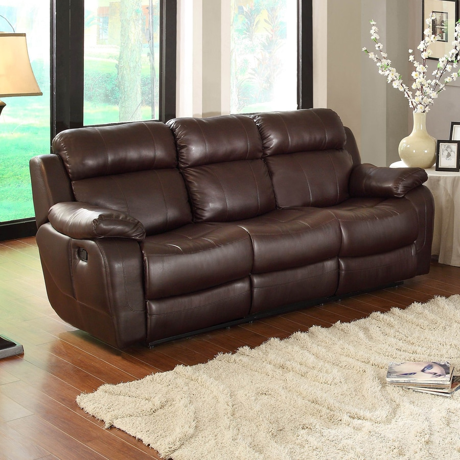 Homelegance Marille Casual Dark Brown Faux Leather Reclining Sofa At