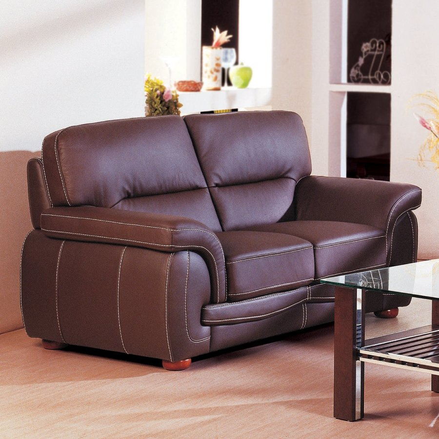 Beverly Hills Furniture Sienna Casual Brown Genuine Leather Loveseat