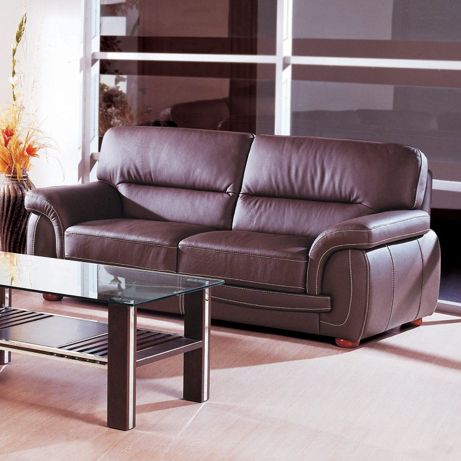 beverly hills furniture sienna casual brown genuine leather sofa
