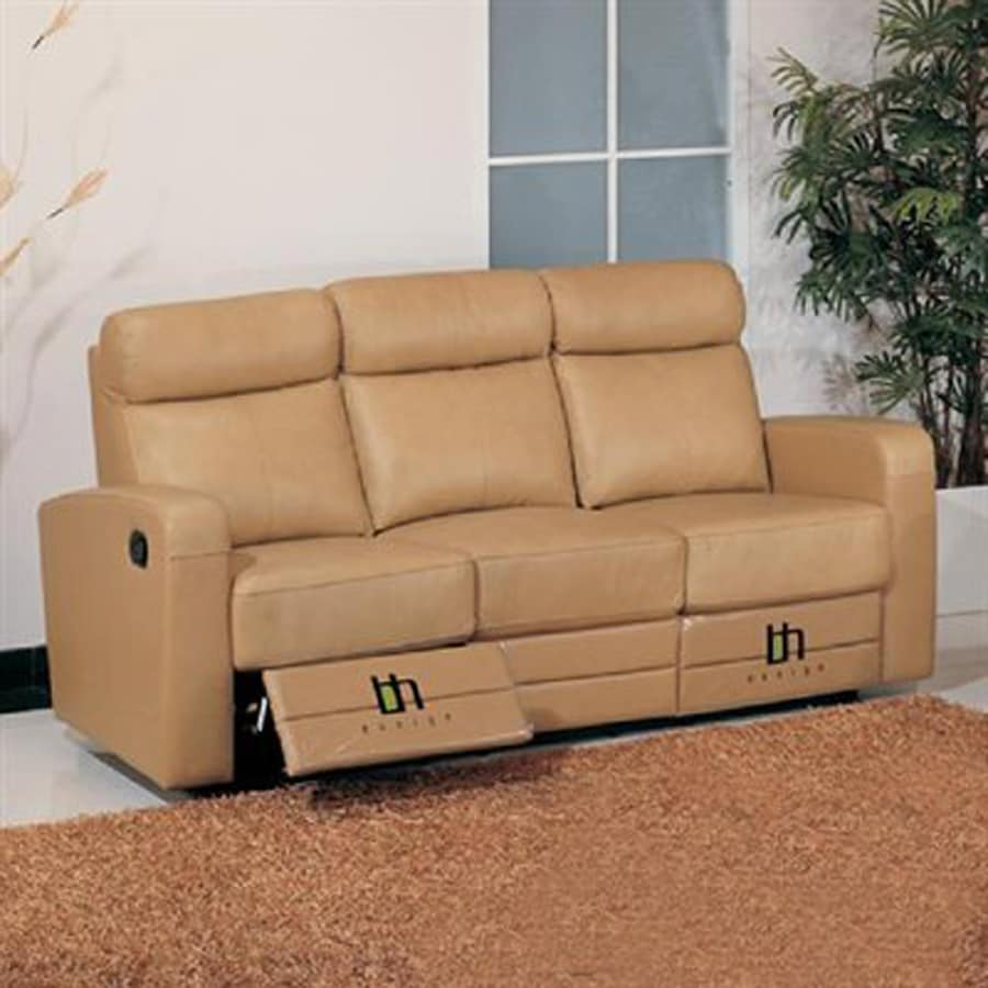 Beverly Hills Furniture Slope Casual Taupe Genuine Leather Reclining Sofa