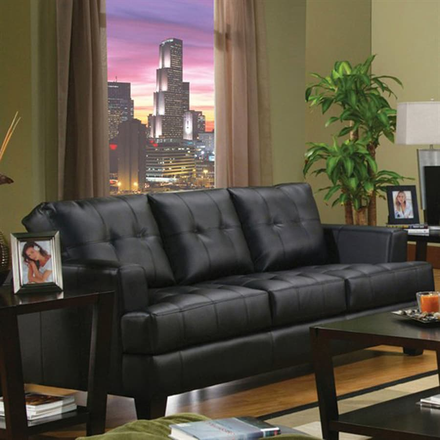 Coaster Fine Furniture Samuel Casual Black Faux Leather Sofa
