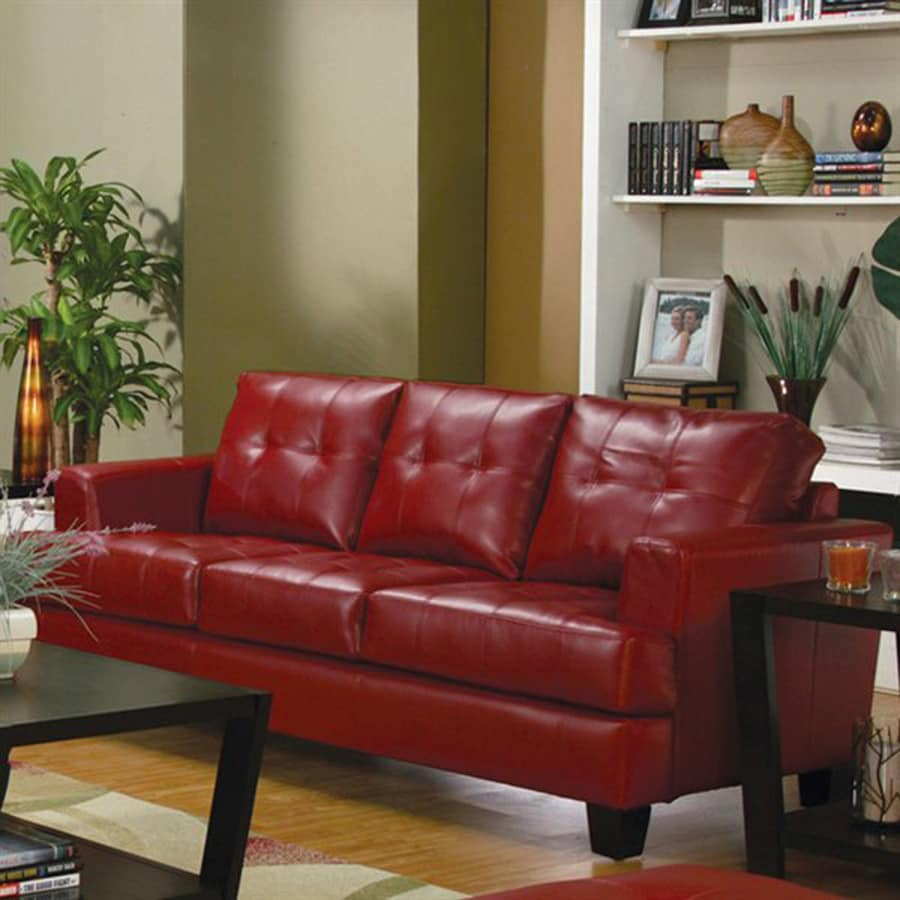 Coaster Fine Furniture Samuel Casual Red Faux Leather Sofa