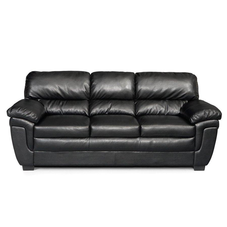 Coaster Fine Furniture Fenmore Casual Black Faux Leather Sofa