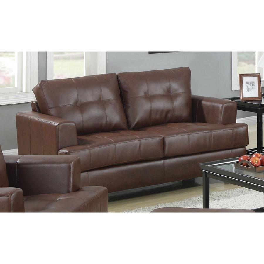 Coaster Fine Furniture Samuel Casual Dark Brown Faux Leather Loveseat