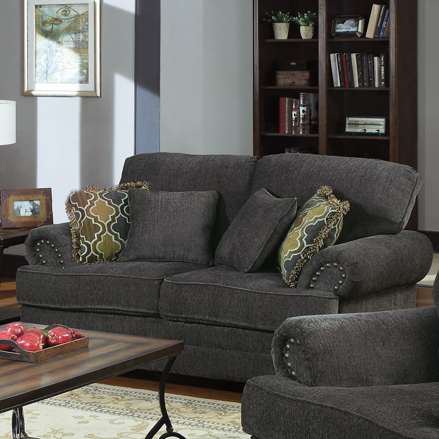Coaster Fine Furniture Colton Casual Smokey Grey Chenille Loveseat