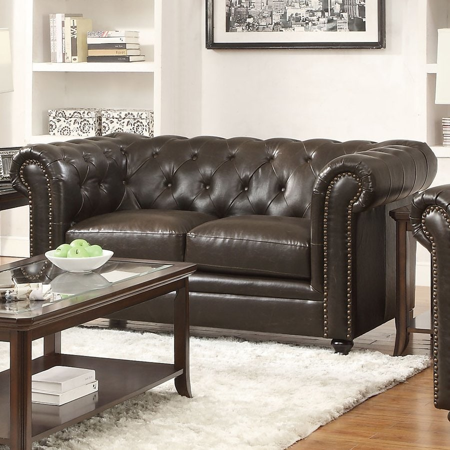 Coaster Fine Furniture Roy Casual Dark Brown Faux Leather Loveseat