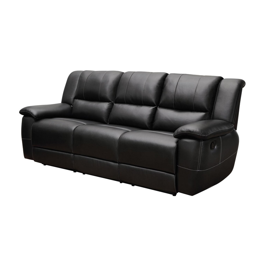 Coaster Fine Furniture Lee Casual Black Faux Leather Reclining Sofa
